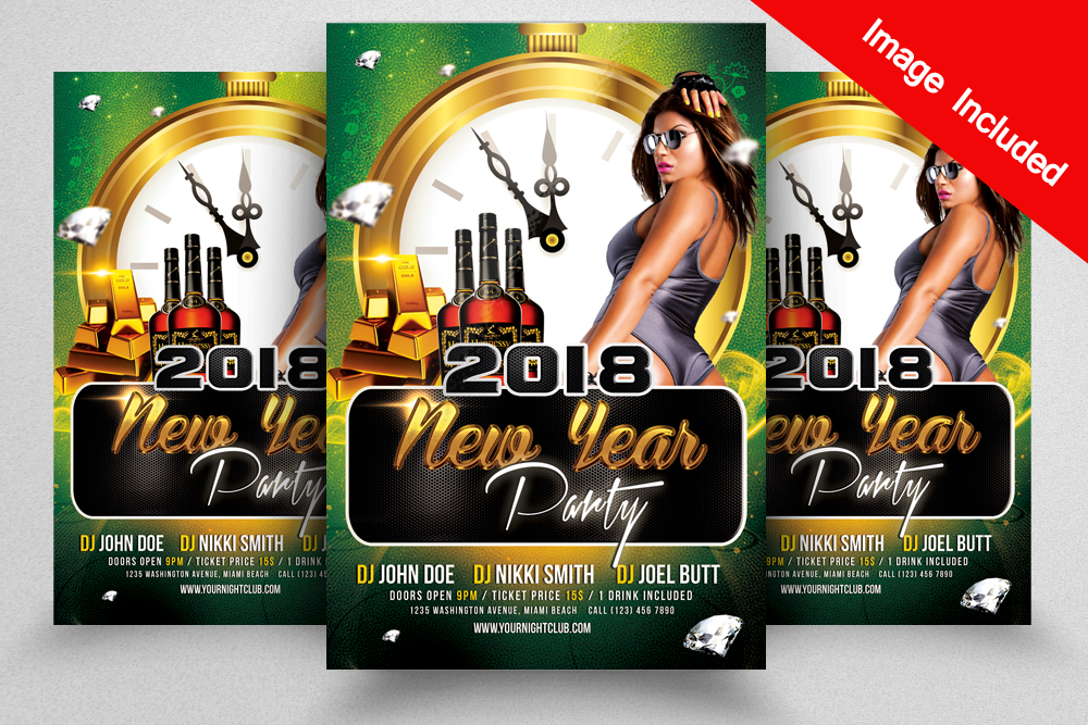 Free Happy New Year 2018 Flyer Psd Template